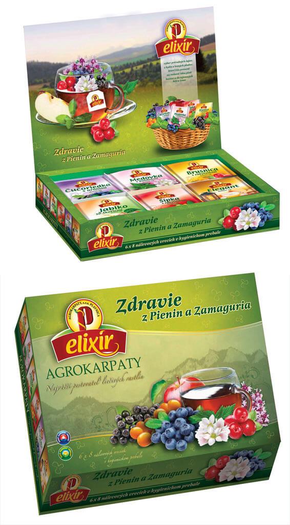 Čajová kazeta Elixír Zdravie z Pienin a Zamaguria - ovocný mix (8x6 druhov čajov)
