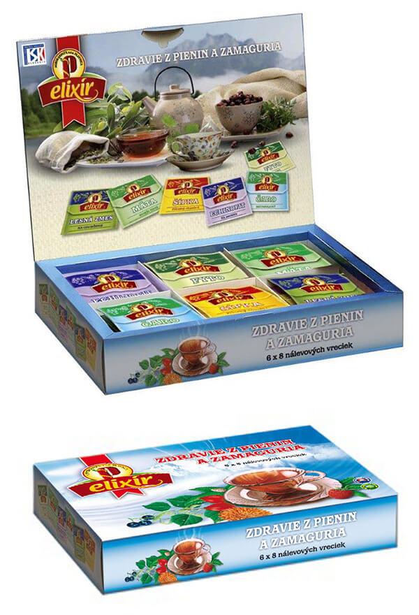 Agrokarpaty Elixír Zdravie z Pienin a Zamaguria čajová kazeta bylinno-ovocný mix (8x6 druhov čajov)