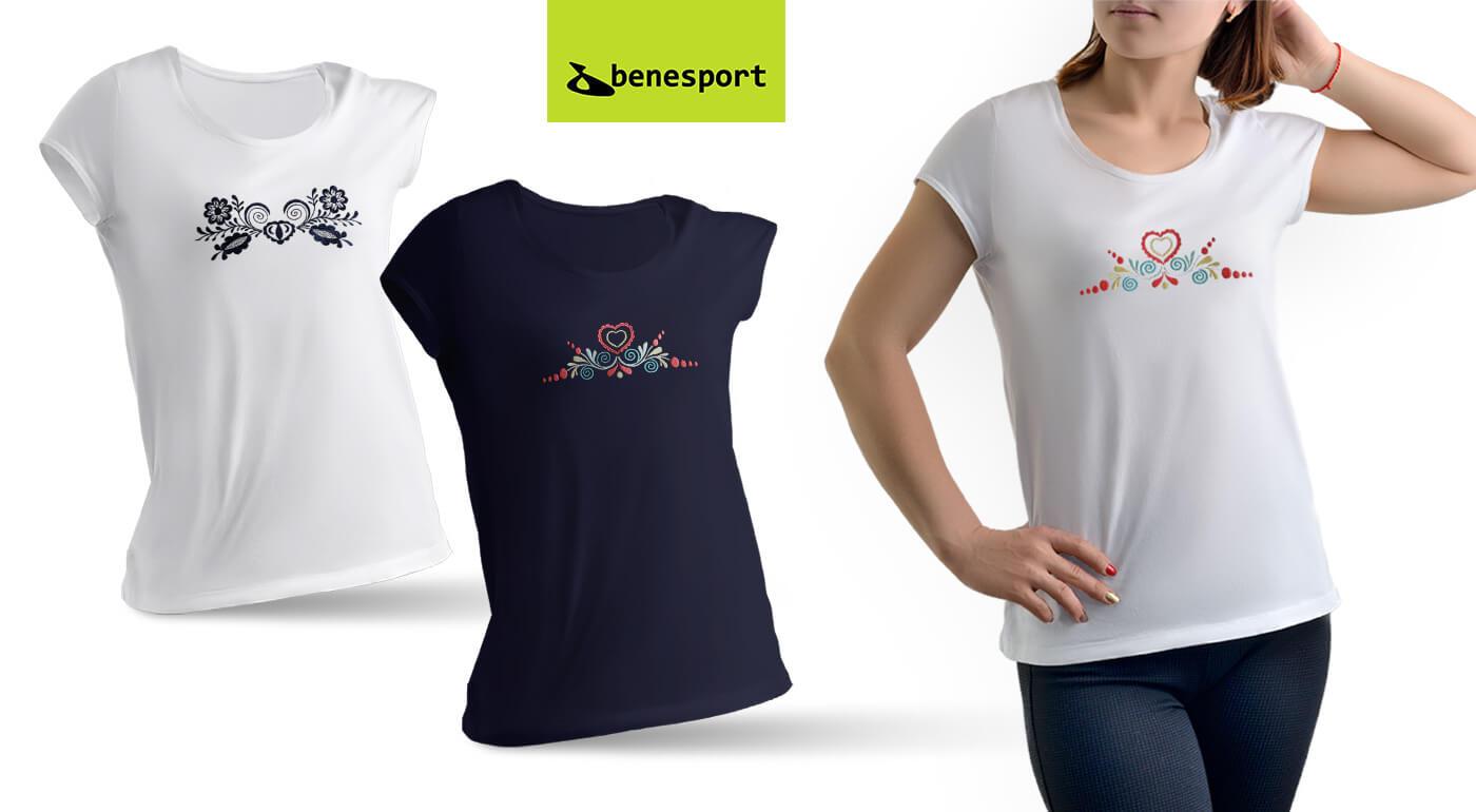Dámske tričká Benesport s ľudovou výšivkou