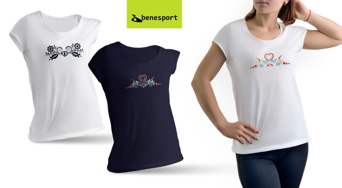 Ľudové tričká Benesport s výšivkou pre dámy