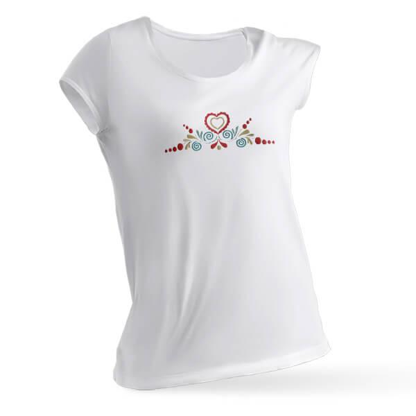 Dámske tričko s farebnou výšivkou (krátky rukáv) - biele, veľkosť S