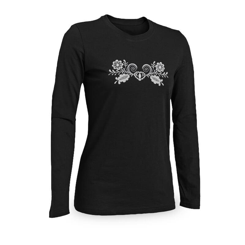 Benesport Dámske tričko s výšivkou (dlhý rukáv) - čierne, veľkosť XL
