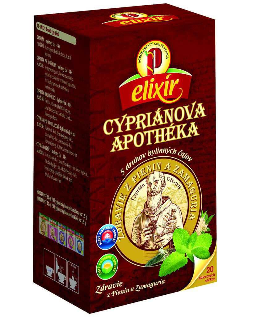 Agrokarpaty Čaj Elixír Cypriánova apothéka - 5 druhov bylinných čajov (20 vreciek)