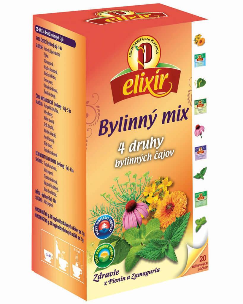 Agrokarpaty Čaj Elixír Bylinný mix - 4 druhy bylinných čajov (20 vreciek)