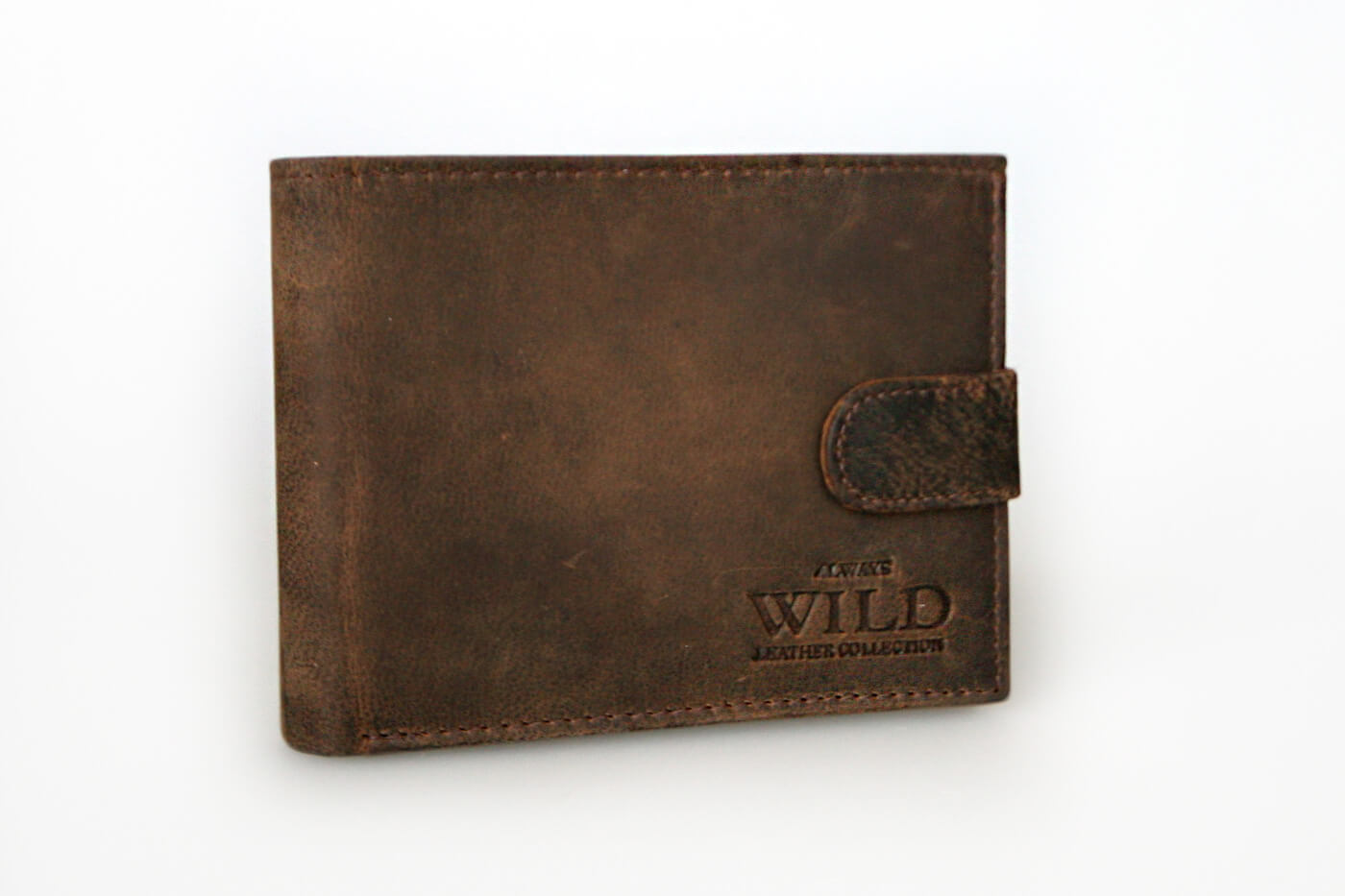 WILD Pánska kožená peňaženka na šírku - hnedá so zapínaním (šírka 12,5 cm x výška 10 cm)