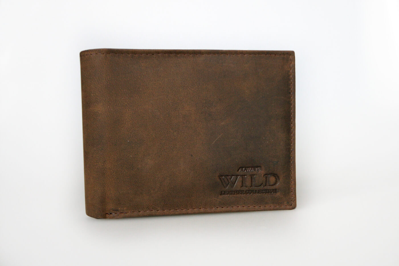 WILD Pánska kožená peňaženka na šírku - hnedá bez zapínania (šírka 12 cm x výška 9,5 cm)