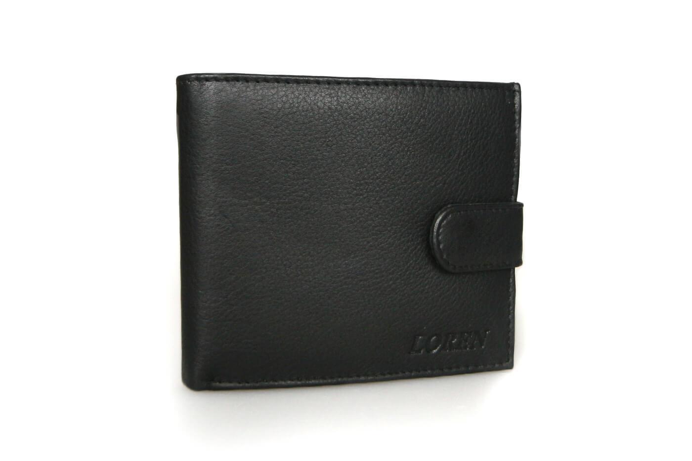 LOREN Pánska kožená peňaženka na šírku - čierna so zapínaním (šírka 11,5 cm x výška 10 cm)