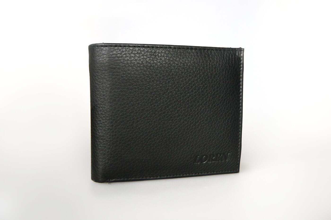 LOREN Pánska kožená peňaženka na šírku - čierna bez zapínania (šírka 11,5 cm x výška 10 cm)