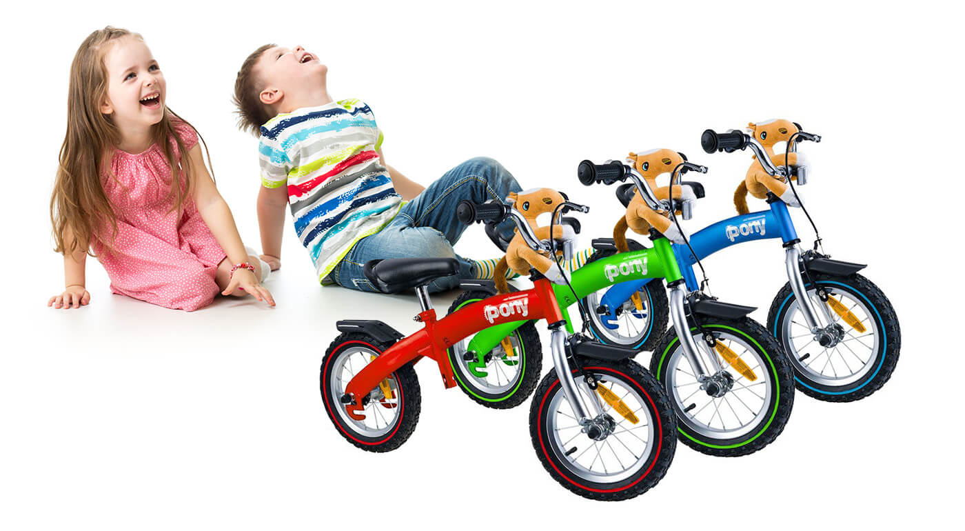 Fantastické odrážadlo a bicykel PONY 6v1 s vodiacou rúčkou pre rodiča, pomocnými kolieskami a plyšovou hračkou