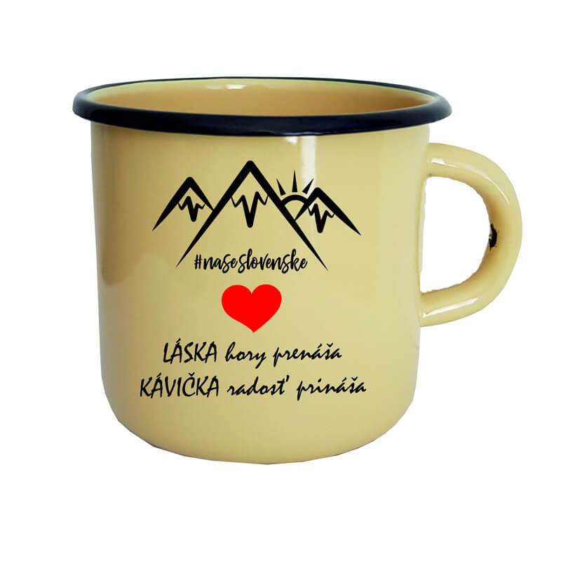 Smaltovaný hrnček Láska hory prenáša, kávička radosť prináša (300 ml) - krémový