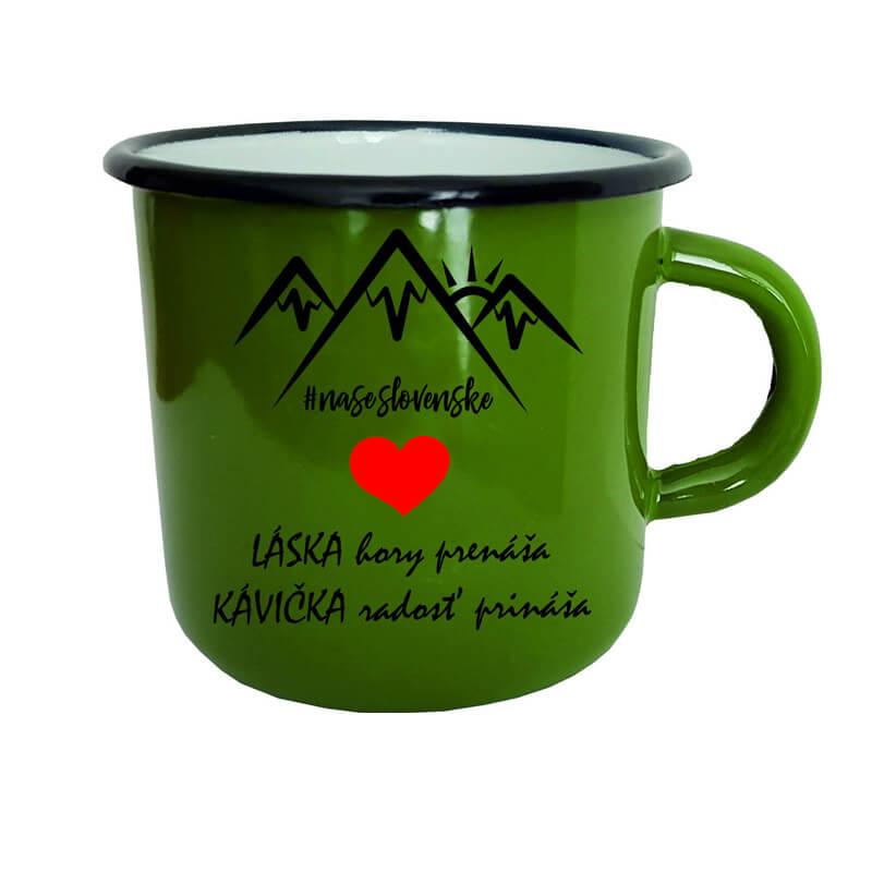 Smaltovaný hrnček Láska hory prenáša, kávička radosť prináša (300 ml) - zelený