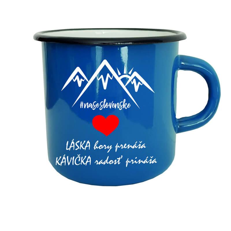 Smaltovaný hrnček Láska hory prenáša, kávička radosť prináša (300 ml) - modrý
