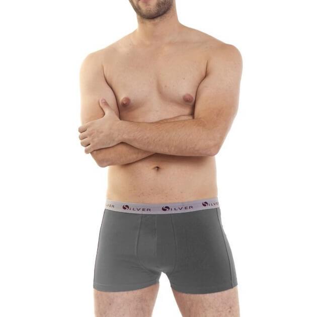Pánske boxerky RIKI - tmavosivé so svetlosivou gumičkou, veľkosť M