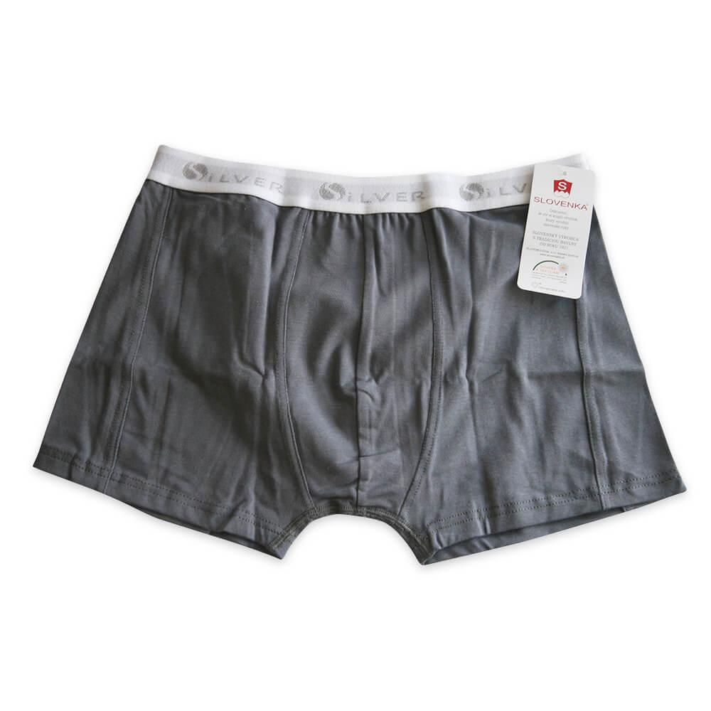Pánske boxerky RIKI - sivé s bielou gumičkou, veľkosť M