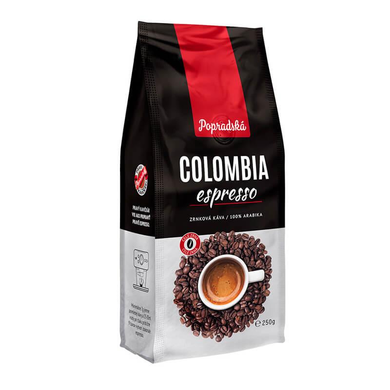 Popradská káva Colombia espresso zrnková 250 g