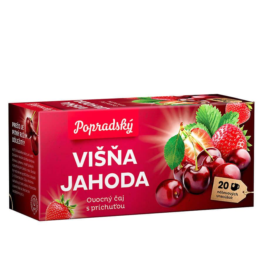 Popradský ovocný čaj Višňa a jahoda (20 nálevových vreciek)