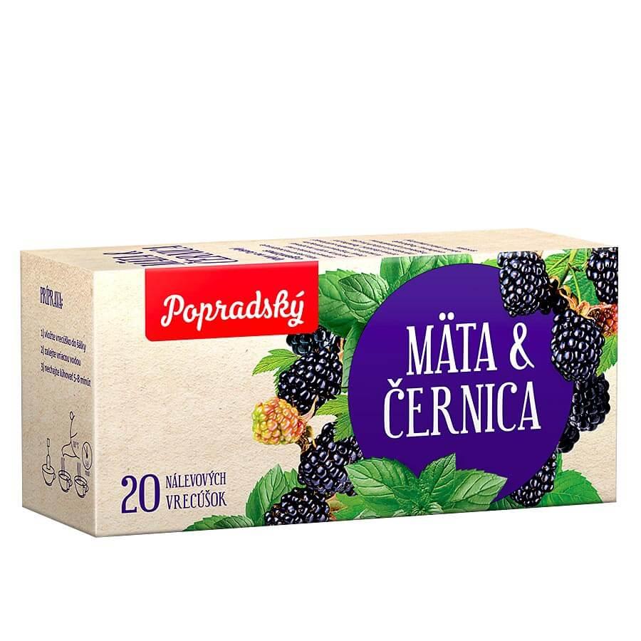 Popradský ovocný čaj Mäta a černica (20 nálevových vreciek)