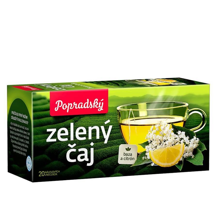 Popradský zelený čaj Baza a citrón (20 nálevových vreciek)