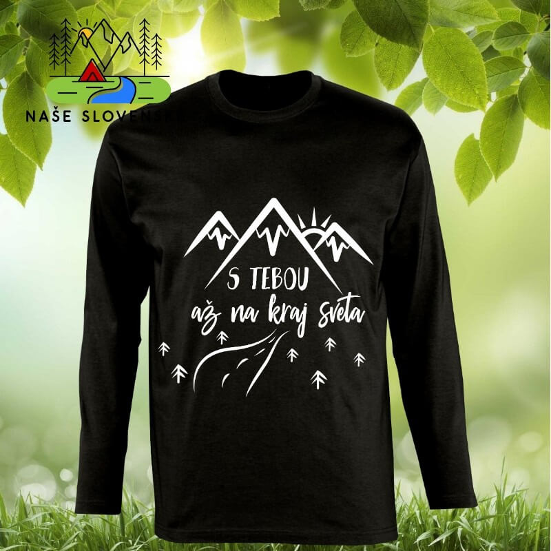 Pánske tričko s dlhým rukávom S tebou - čierne, veľkosť S