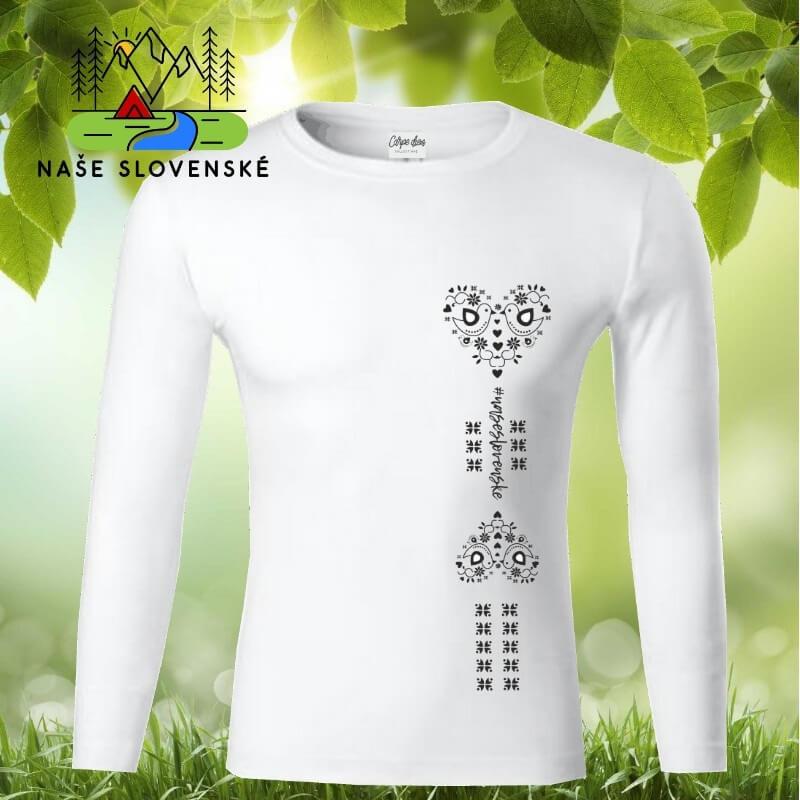 Pánske tričko s dlhým rukávom Srdce - biele, veľkosť S