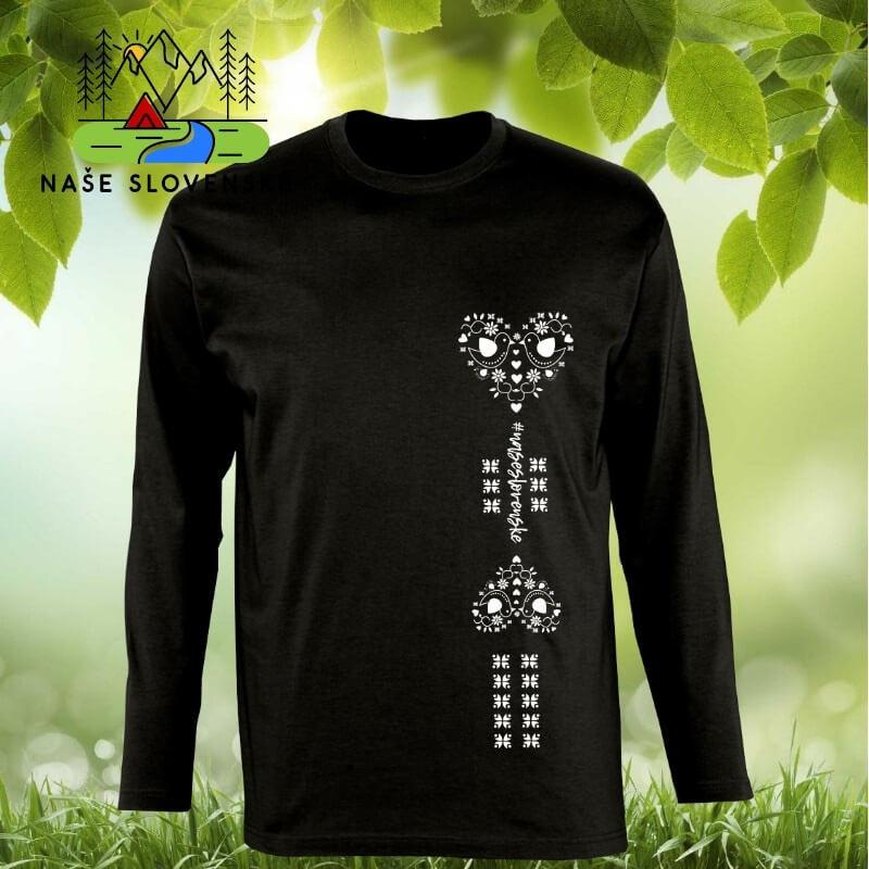 Pánske tričko s dlhým rukávom Srdce - čierne, veľkosť S