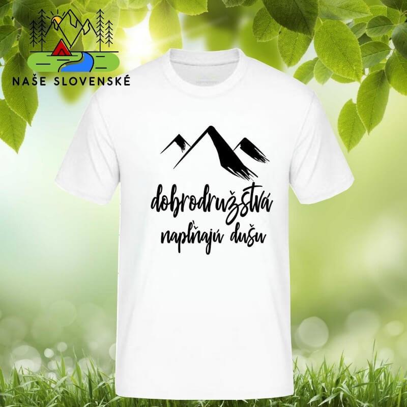 Pánske tričko s krátkym rukávom Dobrodružstvá - biele, veľkosť L