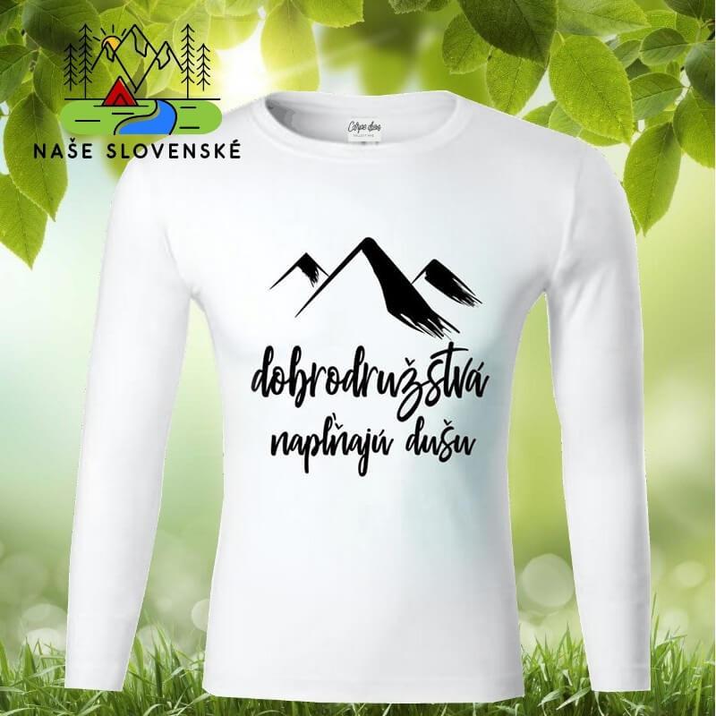 Pánske tričko s dlhým rukávom Dobrodružstvá - biele, veľkosť L