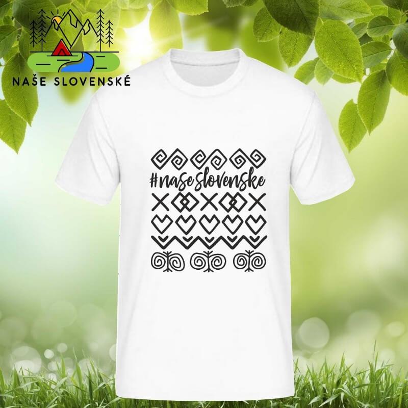 Pánske tričko s krátkym rukávom Čičmany - biele, veľkosť S