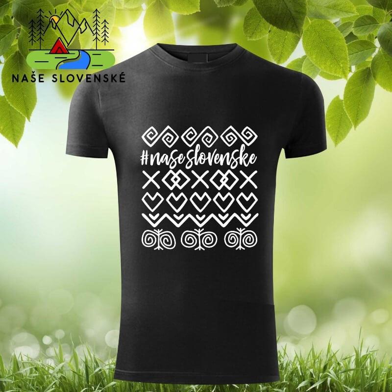 Pánske tričko s krátkym rukávom Čičmany - čierne, veľkosť S