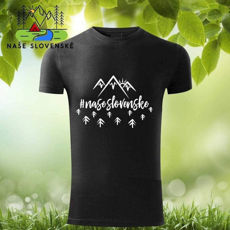 Pánske tričko s krátkym rukávom Naše slovenské - čierne, veľkosť S