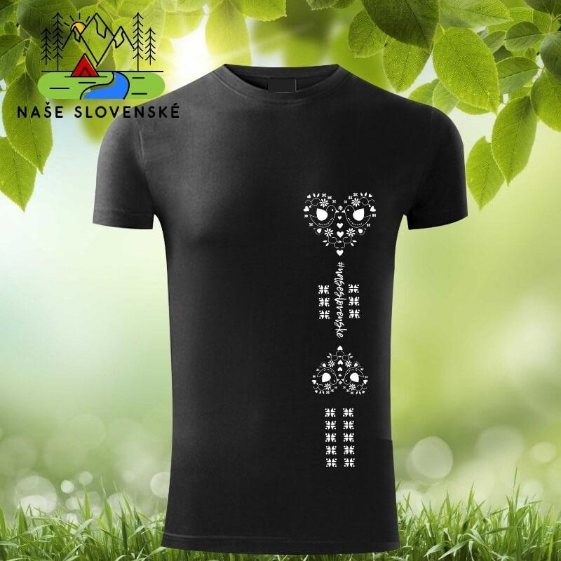 Pánske tričko s krátkym rukávom Srdce - čierne, veľkosť S