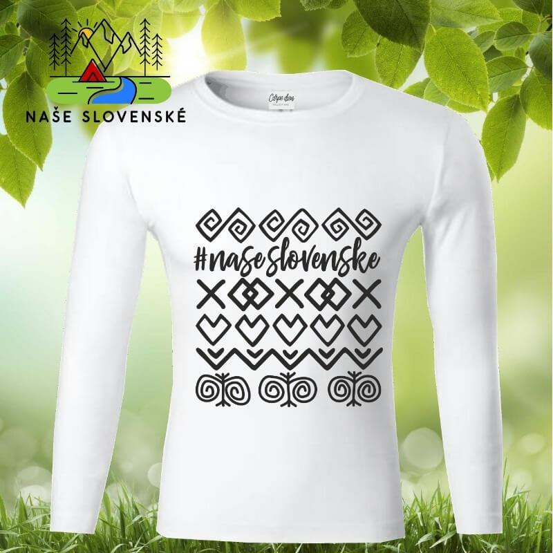 Pánske tričko s dlhým rukávom Čičmany - biele, veľkosť XXL