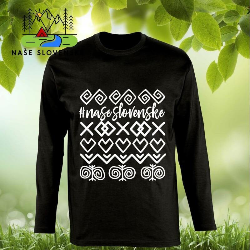 Pánske tričko s dlhým rukávom Čičmany - čierne, veľkosť S