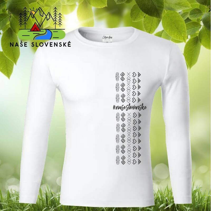Pánske tričko s dlhým rukávom Čičmany pás - biele, veľkosť XL