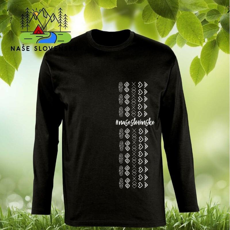 Pánske tričko s dlhým rukávom Čičmany pás - čierne, veľkosť S