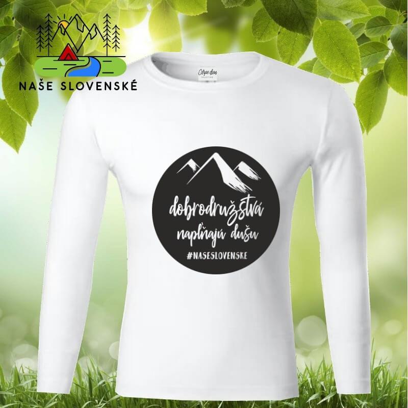Pánske tričko s dlhým rukávom Dobrodružstvá - biele, veľkosť S