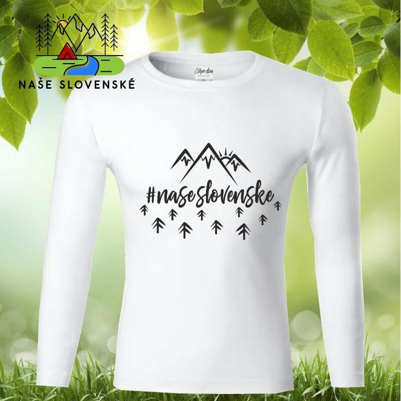 Pánske tričko s dlhým rukávom Naše slovenské - biele, veľkosť S