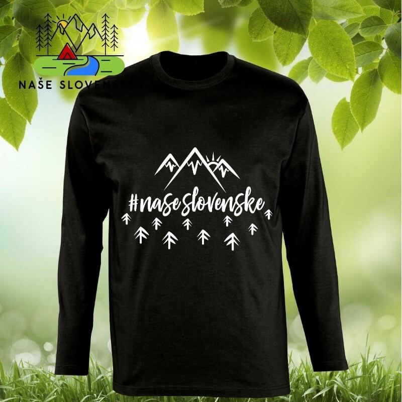Pánske tričko s dlhým rukávom Naše slovenské - čierne, veľkosť S