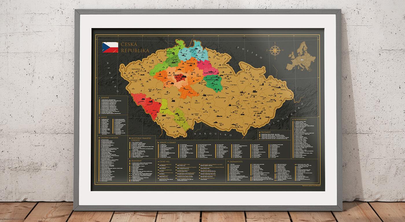 Originálna stieracia mapa Česka s viac ako 300 miestami, ktoré stoja za návštevu