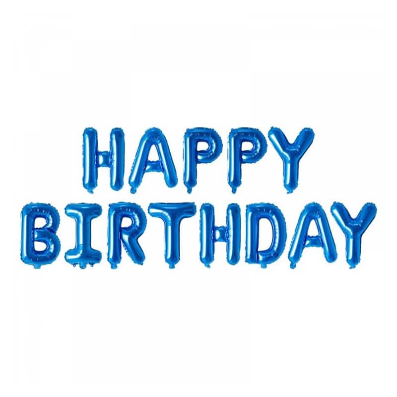 Set narodeninových balónov HAPPY BIRTHDAY modrý