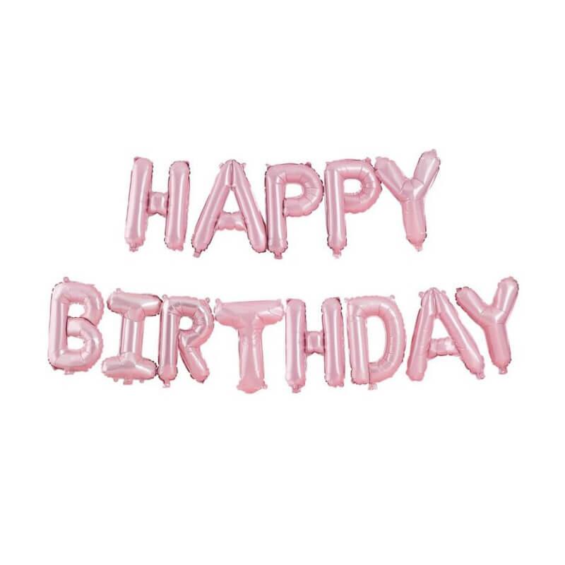 Set narodeninových balónov HAPPY BIRTHDAY ružový