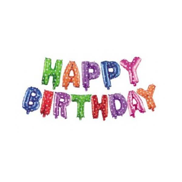 Set narodeninových balónov HAPPY BIRTHDAY farebný