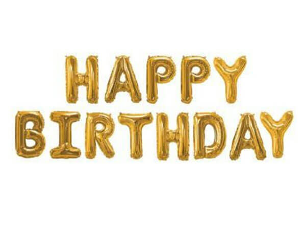 Set narodeninových balónov HAPPY BIRTHDAY zlatý