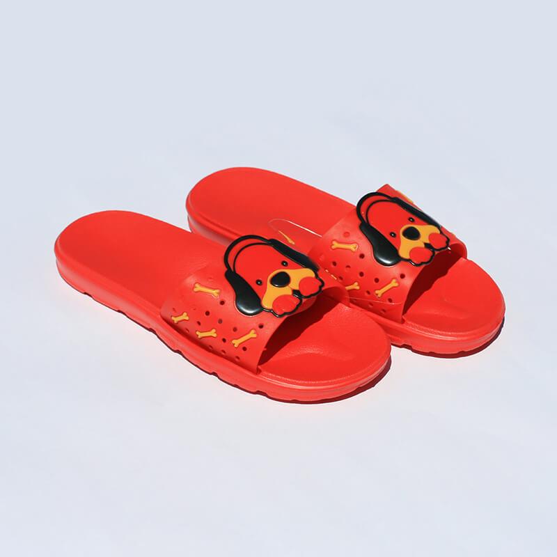 Flameshoes detské šľapky so psíkom červené - veľkosť 32