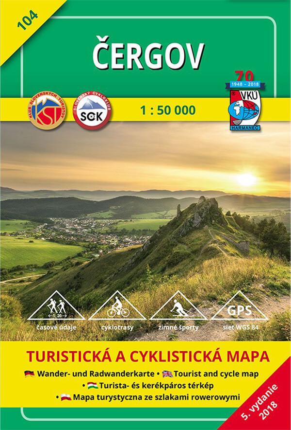 VKÚ Harmanec Turistická mapa Čergov 1:50 000 TM 104