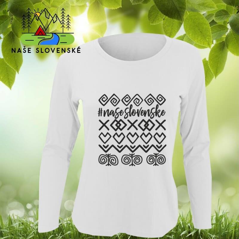 Dámske tričko s dlhým rukávom Čičmany - biele, veľkosť S