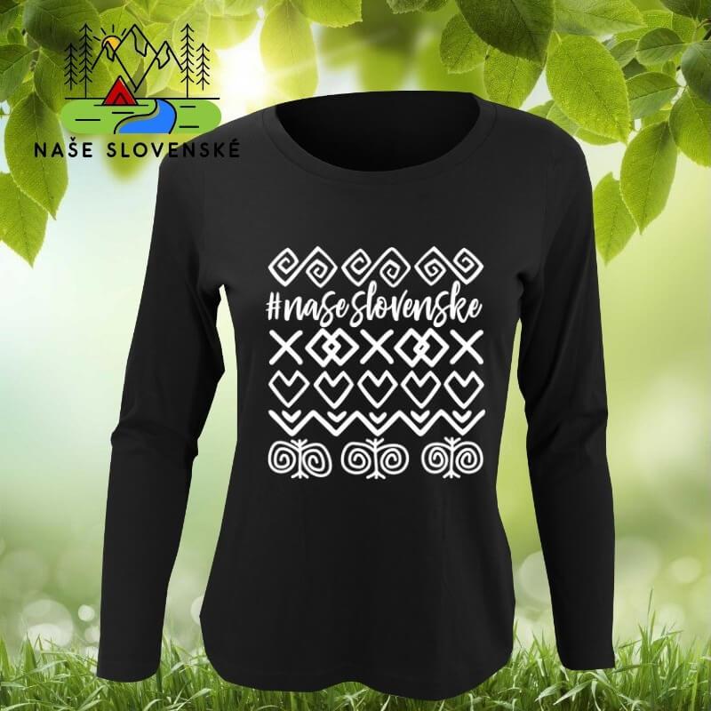 Dámske tričko s dlhým rukávom Čičmany - čierne, veľkosť XXL