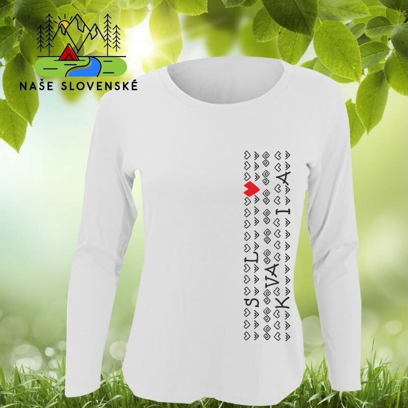 Dámske tričko s dlhým rukávom Slovakia - biele, veľkosť S