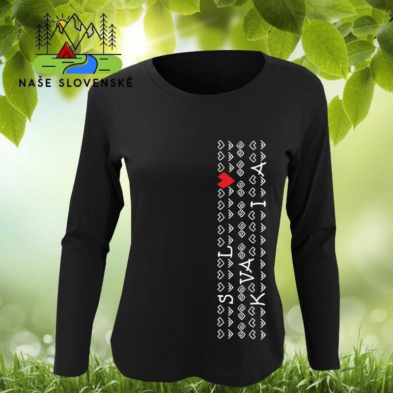 Dámske tričko s dlhým rukávom Slovakia - čierne, veľkosť S