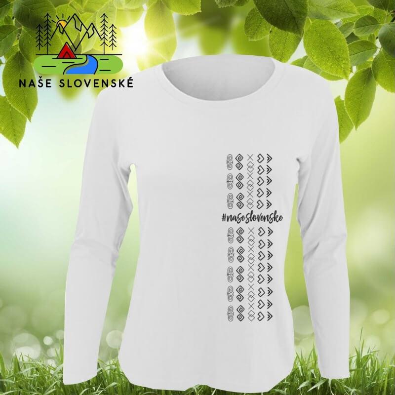 Dámske tričko s dlhým rukávom Čičmany pás - biele, veľkosť S